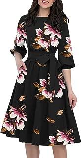 Women's Vintage Knee-Length Dresses, Ladies Casual Floral Printed {Half Sleeve}Swing Tied Dress