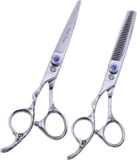 Purple Dragon 6.0 inch Professional Left-handed 440C Salon Hair Cutting Scissors - Hairdressing Thinning Shears - Perfect for Left Hand Barber and Home Use (Silver)