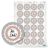 48 Stück rot weiß graue runde FÜR DICH shabby vintage Aufkleber - Sticker selbstklebend Etiketten...