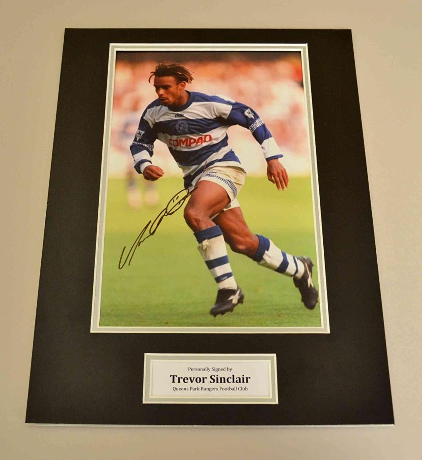 Trevor Sinclair Signed Photo 16x12 Display QPR Memorabilia Autograph + COA