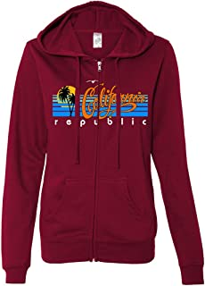 California Republic Palm Trees Ladies Lightweight Fitted Zip-Up Hoodie