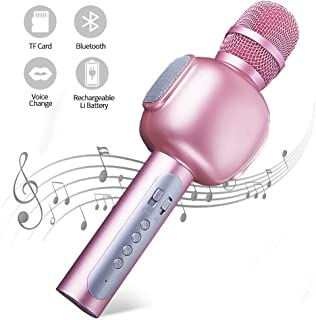Bluetooth Karaoke Microphone,YKSINX 4-in-1 Speaker, Recorder,Voice Changer, Karaoke Microphone Wireless Speaker Karaoke Mic for KTV/Party/Singing/Recording, Compatible with iPhone/Android/PC