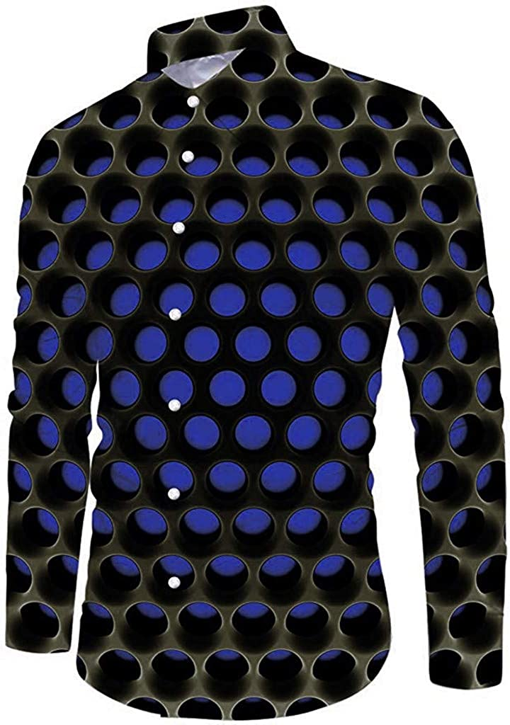 Men's and Winter Fashion 3D Printed Long Sleeve Shirt Novelty Blouse