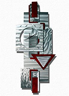 Statements2000 Silver and Scarlet Red Wall Clock - Functional Art - Hanging Abstract Metal Wall Clock Sculpture - Scarlet Times Clock by Jon Allen - 37-inch