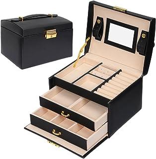 Meerveil Caja Joyero, Joyeros Mujer Organizador Caja para Joyerías con Espejo y 3 Cajones Cuero PU 17.5 * 14 * 13cm