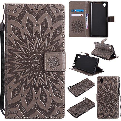 Jeewi Hülle für Sony Xperia L1 Hülle Handyhülle [Standfunktion] [Kartenfach] [Magnetverschluss] Tasche Etui Schutzhülle lederhülle klapphülle für Sony Xperia L1 - JEKT032479 Grau