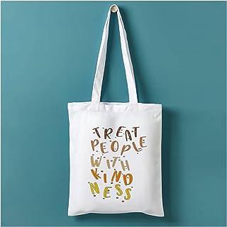 canvas bag Vintage Fine Line Black Print Women Shopping Canvas Bag Treat People with Kindness Eco Harajuku Shopper Bags Le...