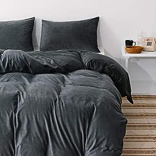 Janzaa Velvet Duvet Cover Set, 3 Pieces Flannel Queen Duvet Cover with Zipper Closure & Pillowcases Warm Bedding Sets for Winter (Dark Grey)