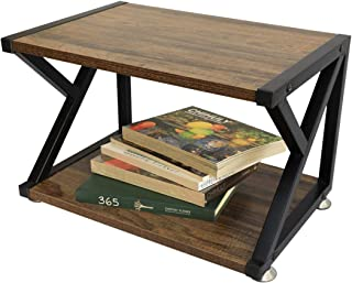 Wood Printer Stand, Multipurpose Storage Shelf for Home, Office, Printer Desk with 4 Cushion, 2 Tier (Mod)