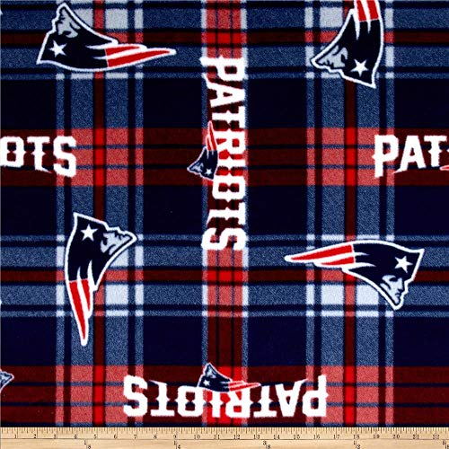 Fabric Traditions NFL New England Patriots Plaid Fleece Red/Blue Fabric By The Yard