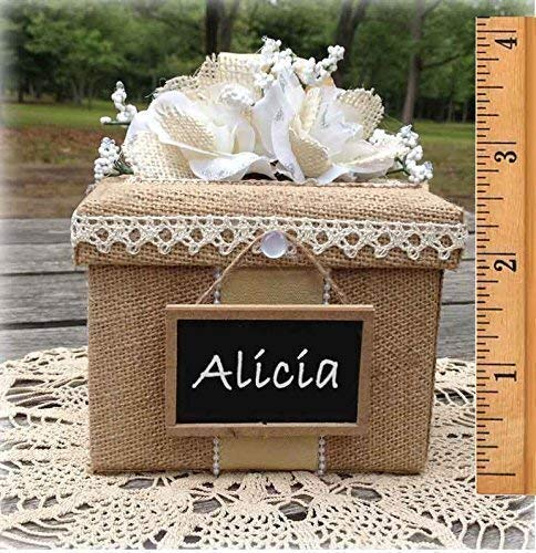 Bridesmaid Gift Box rustic wedding burlap lace personalized chalkboard, All The Best Card Boxes