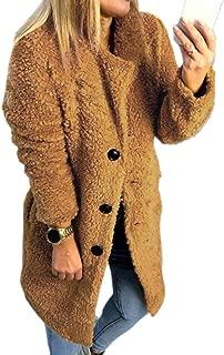 Women's Winter Warm Long Sleeve Button Lapel Faux Fur Coat Jacket Overcoat Outwears