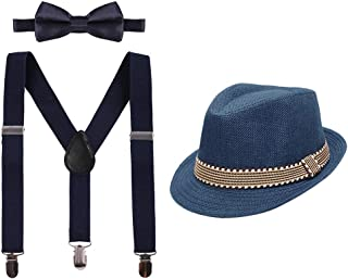 Cake Smash Outfit Boys Suspender Bow Tie Set with Birthday Hat Formal Tuxedo Suit for Kids Baby Photo Shoot Costume 2-6