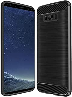 Case for Samsung Galaxy S8 SM-G950 Heavy Duty Brushed Metal Metallic Finish TPU Skin Case with Shockproof Impact Resistant Drop Protection (Carbon Fiber Black)