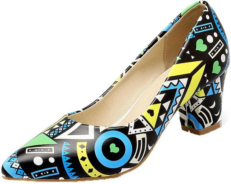 WeenFashion Women's Pointed-Toe Kitten-Heels Microfiber Pumps-shoes