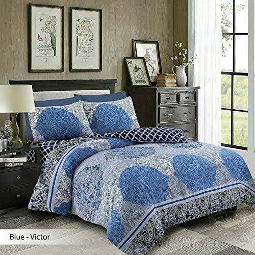 Oxford Homeware® Bettbezug Set Bettwäsche Allergiker Baumwolle 4 Stück Polycotton Reversible Mit Kopfkissenbezug (Blau(Victor), (220x230 cm))