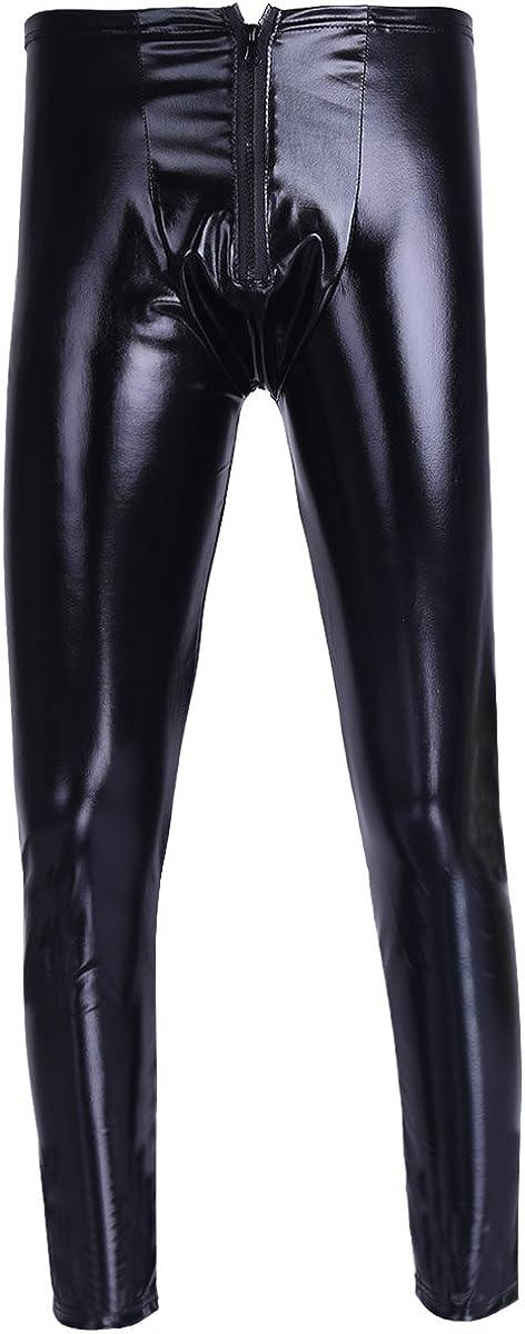 JanJean Mens Wet Look Patent Leather Tights Legging Pants Zipper Bulge Pouch Slim Fit Trousers Clubwear