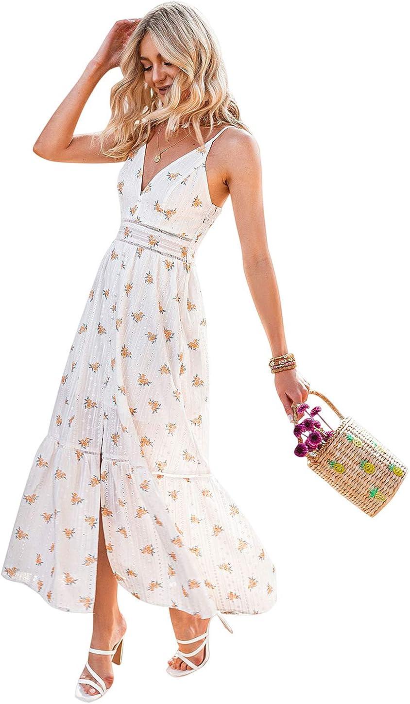 Narspeer Women's Beach Flowy Embroidery Long Dress Summer Spaghetti Straps Floral Maxi Dress