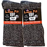 Loose Fit Stays Up Marled Merino Wool Men's and Women's Sock 2 Pack (Large Turquoise Label, Black Marled)