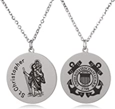 FAYERXL St Christopher Patron Saint of Travelers Marine Corps Air Force Army Navy Coast Guard Round Tag Necklace Religious Faith Gift