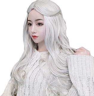 かつら - ファッションロングロールウィッグの役割ハロウィンナチュラル耐熱60cm白を再生する (色 : 白, サイズ さいず : 60 cm 60 cm)