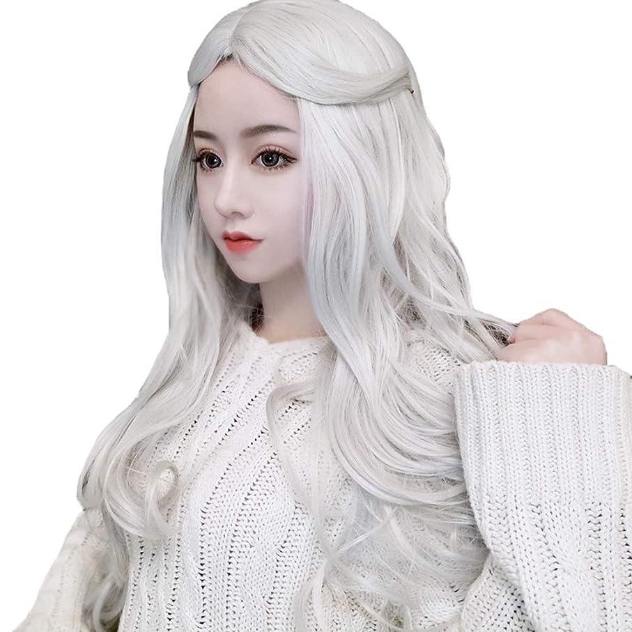 ストリップ少ない短命かつら - ファッションロングロールウィッグの役割ハロウィンナチュラル耐熱60cm白を再生する (色 : 白, サイズ さいず : 60 cm 60 cm)