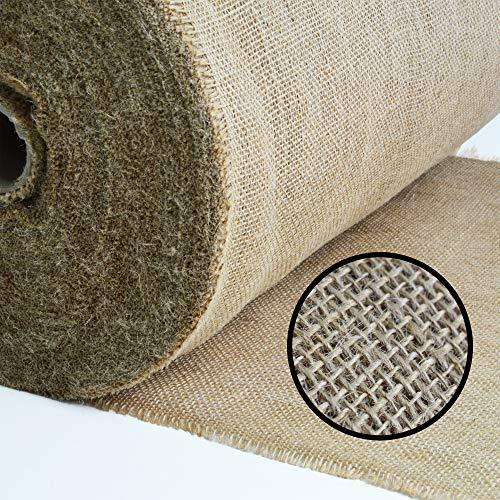 Roban Fashion Jute Stoff Fortlaufend 50cm breit natürlicher Stoff meterware Sackleinen für Haus & Garten,50cm Breit,10m Länge