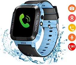 Eleoption Kids Smart Watches GPS Tracker Phone Call for Boys Girls Digital Wrist Watch, Sport Smart Watch, Touch Screen Cellphone Camera Anti-Lost SOS Learning Toy for Kids Gift (Black&Blue)