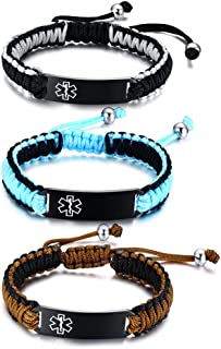 Customize Medical Jewelry-13MM Handmade Braid Rope Stainless Steel ID Paracord Adjustable Bracelet