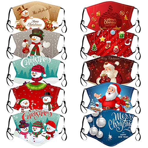SHUANGA Christmas Print Resue Breathable Multi-Purpose Face Cover Reuse Mask FacemaskAtmungsaktiv Mundschutz Halstuch Schön Atmungsaktiv Sommerschal