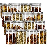 Tebery 16 Pack Clear Plastic Jars Bottles Containers with Silver Ribbed Lids 20oz Straight Cylinders Storage Canisters for Food & Home Storage