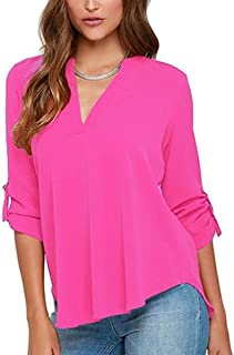 33441aaf YMING Womens Sexy Chiffon Roll Up Sleeve Deep V Neck Ruffle Loose Fit Blouse  Top Shirts
