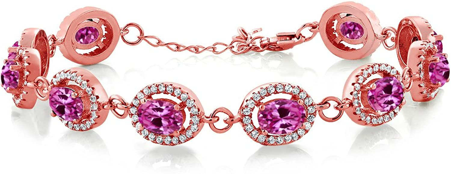 12.88 Ct Oval Pink Created Sapphire 18K pink gold Plated Silver Bracelet