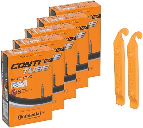 Continental Bicycle Tubes Race 28 700x20-25 SV60 Presta Valve 60mm Bike Tube Value Bundle 5-in-1 Bicycle Tube 700c