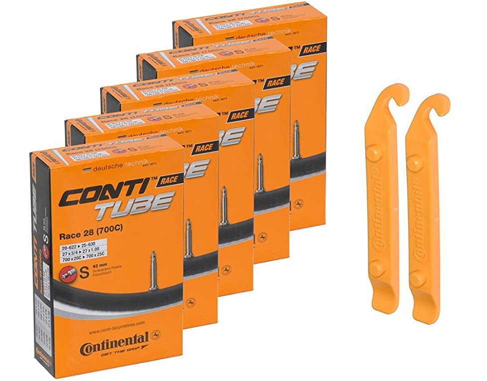 Continental Bicycle Tubes Race 28 700x20-25 S42 Presta Valve 42mm Bike Tube Super Value Bundle (Pack of 5 Conti tubes & 2 Conti tire lever) j02265413498951
