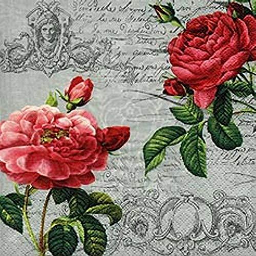 Linoows G5533:20 Servetten Twee Rozen Bloemen op briefpapier, Barok Motief 33x33 Cm