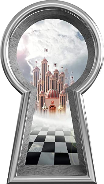 18 Silver Keyhole 3D Wall Decal Queen Of Hearts Castle Fantasy Fairy Tale Alice In Wonderland Decor Removable Peel And Stick Mural For Kids Room 18 Tall X 10 2 Wide
