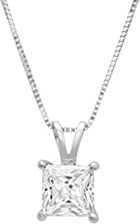 """1.0 ct Brilliant Princess Cut Highest Quality Moissanite Ideal VVS1 D Solitaire Pendant Necklace With 16"""" Gold Chain box Solid 14k White Gold"""