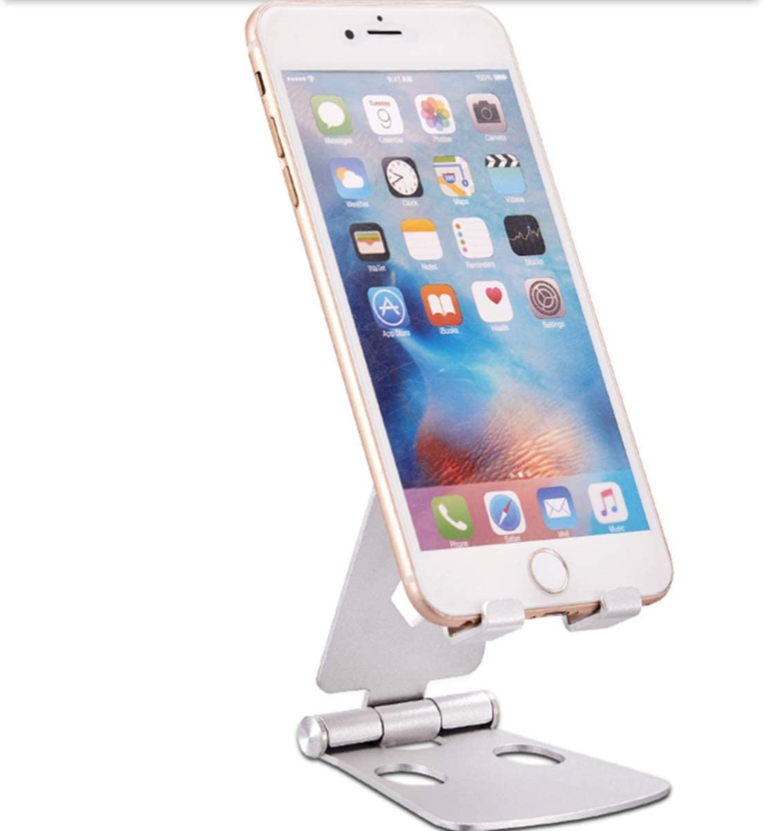 Cell Phone Holder Adjustable Cell Phone Stands Tablet Stand Solid Aluminum Stand Charging Dock for All Smart Phones and Tablets Desk Phone Accessories Rose Gold