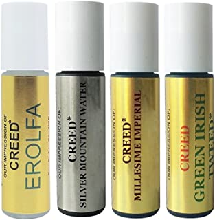 Premium Perfume Oil IMPRESSION of Creed: 4 Piece Bundle Set of Erolfa Oil, Silver Mountain Water Oil, Imperial Oil, Green Irish Tweed Oil; 10ml Roller Bottles (VERSION/TYPE OIL; Not Original Brand)