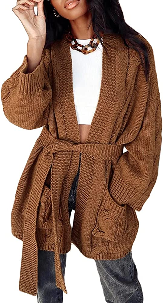 Coziavenue Women's Cable Knit Cardigan Long Sleeve Open Front Knitwear Sweater Waist Belted Coats Outwear with Pockets