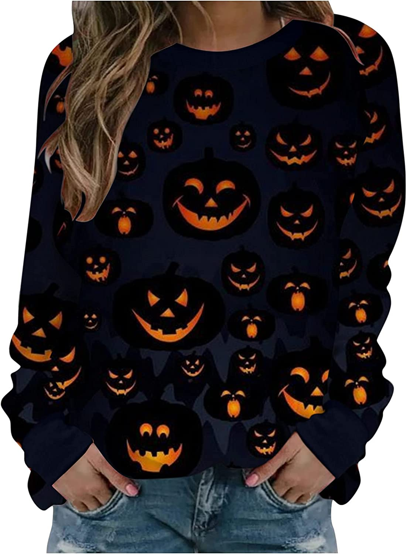 Long Sleeve Shirts for Women, Pumpkin Print Crewneck Casual Sweatshirts Long Sleeve Workout Blouses Tops