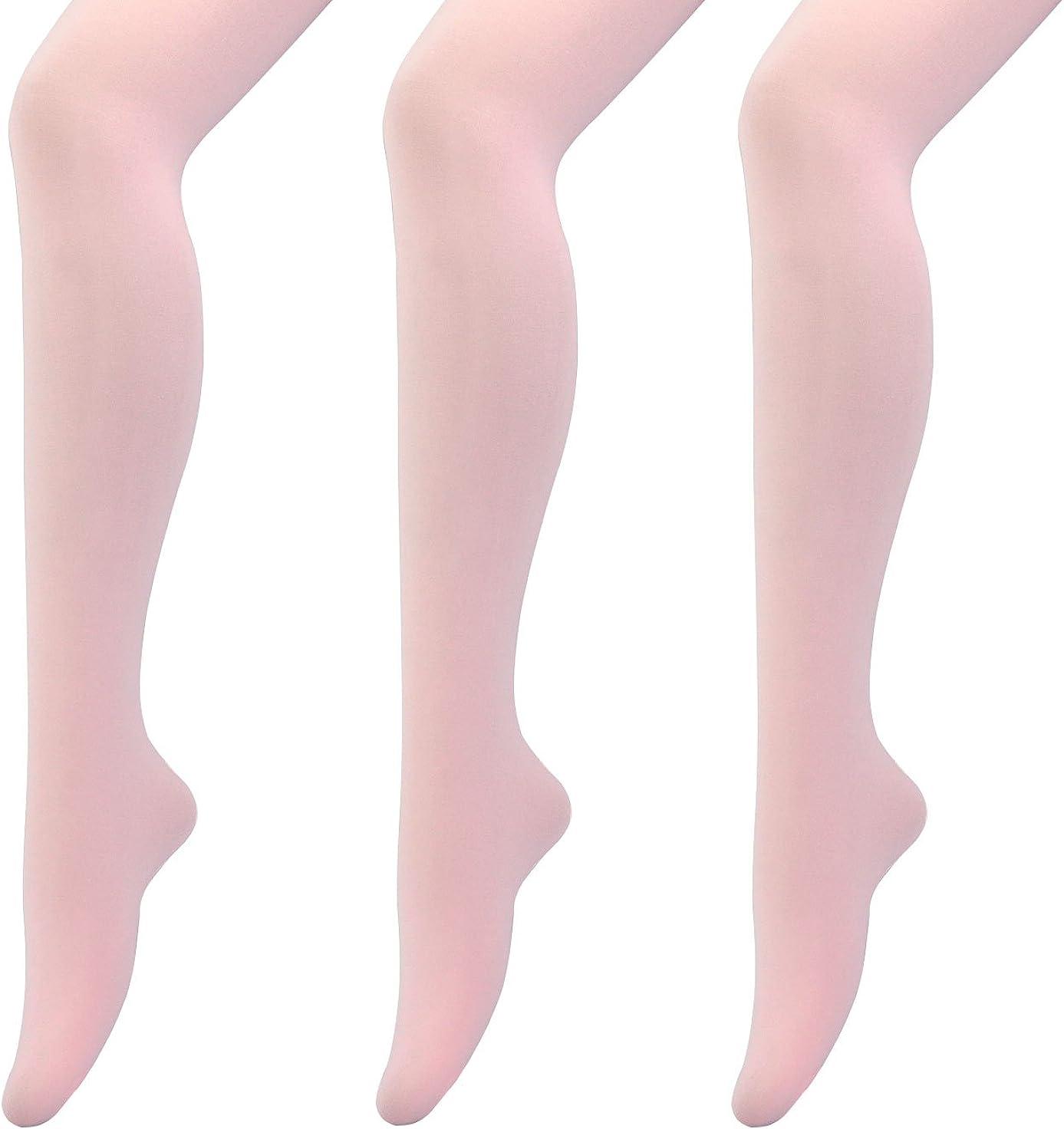 MANZI 3 Pairs Women's Girls' Basic Convertible Transition Ballet Dance Tights