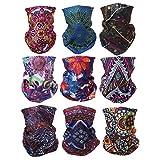 ACBungji 9 Stück Multifunktionstuch Gesichtsmaske Motorradmaske Sturmmaske Maske für Motorrad Ski Snowboard Snowboard Paintball Fahrrad Bergsteigen Trekking Skateboarden Angeln Damen Böhmischer Stil