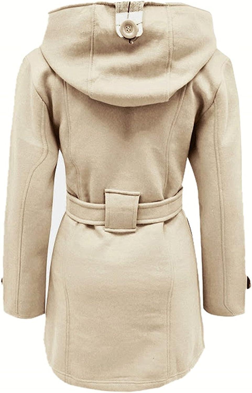 Minetom Damen Herbst Winter Lange Mantel Mit Kapuze Gürtel Militärstil Zweireihig Jacke Outwear Staubmantel Trenchcoat Plus Größen Beige