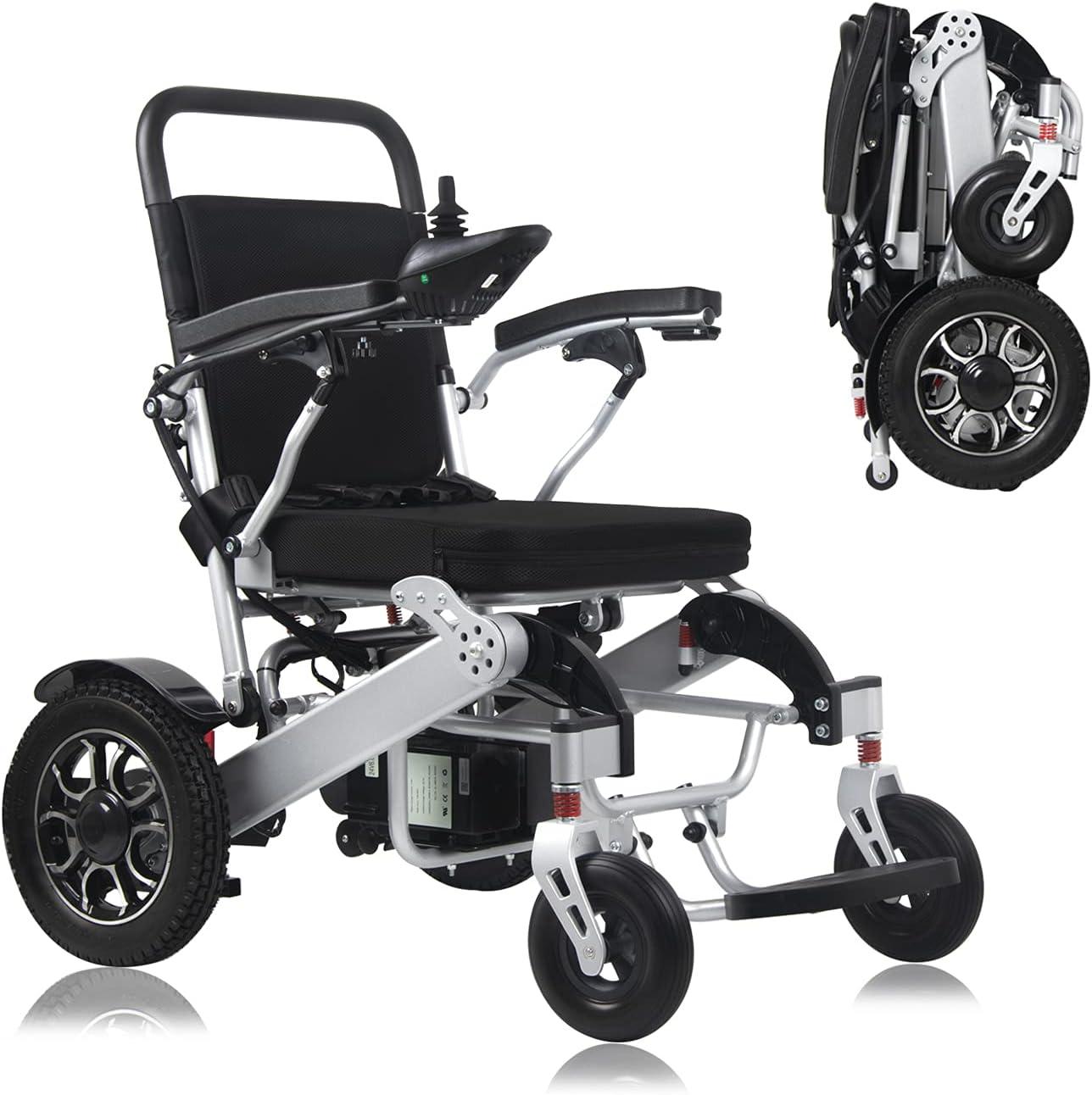 MUJO Silla de ruedas eléctrica plegable y ligera Deluxe Power Mobility Aid con motor dual de 500 W y doble batería