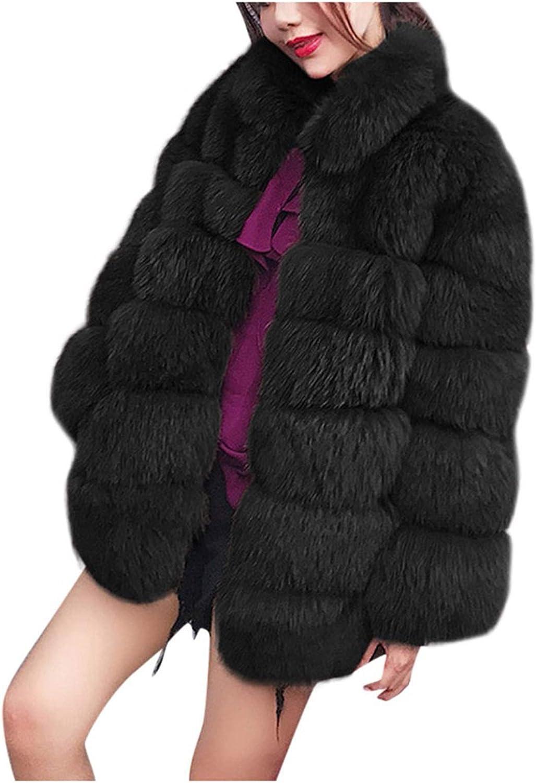 Fashion Women's Long Sleeve Hooded Winter Warm Lapel Faux Fur Coat Jacket Coat