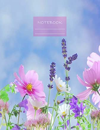 Notebook: Large notebook with 120 Lined pages. Wide ruled. Ideal for School notes, Journaling, Hand lettering, Calligraphy practice. Perfect gift. 8.5' x 11.0' (Large). (Flowers cover).