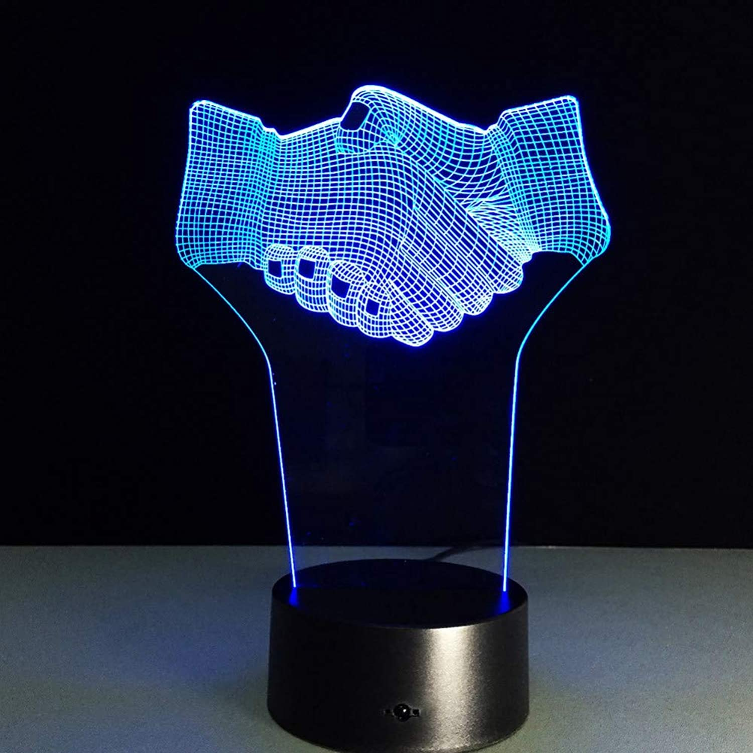 KAIYED 3D Night Light 7 color Shake Hands Office Desk Decor Atmosphere 3D Illusion Lamp for Friend Gift 3D Night Light Remote Touch Sensor Light