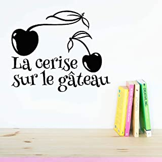 Lisoue Vinyl Removable Wall Stickers Mural Decal Art Family Decals La Cerise Sur Le Gateau for Kitchen Dining Room Bakery